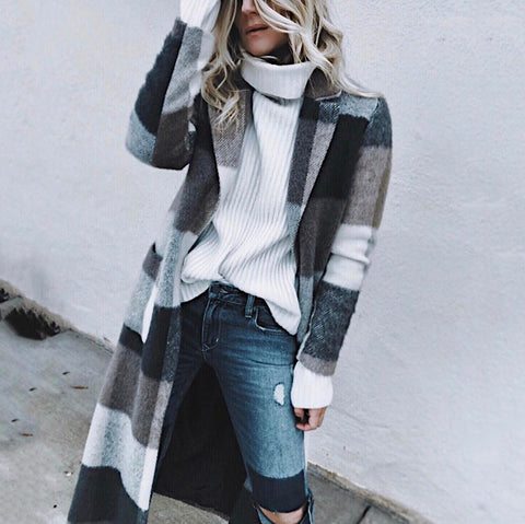 Fashion Classic Fold-Over Collar Plaid Woolen Coat