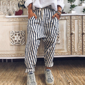 Casual Stripe Belted Pants