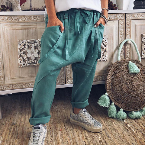 Casual Belted Pure Colour Pants