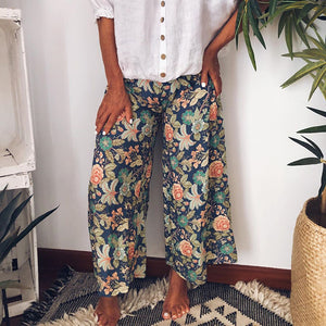Casual Wide Leg Print Pants