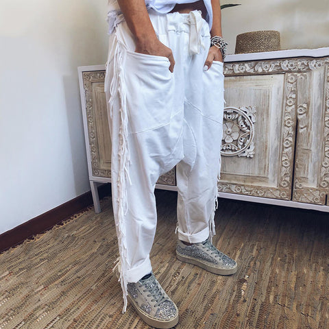 Casual Pocket Loose Fringe Pants