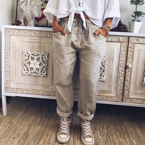 Casual Pocket Long Solid Color Pants