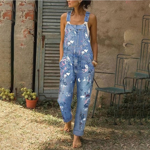 Fashion Casual Halter Denim Jumpsuits