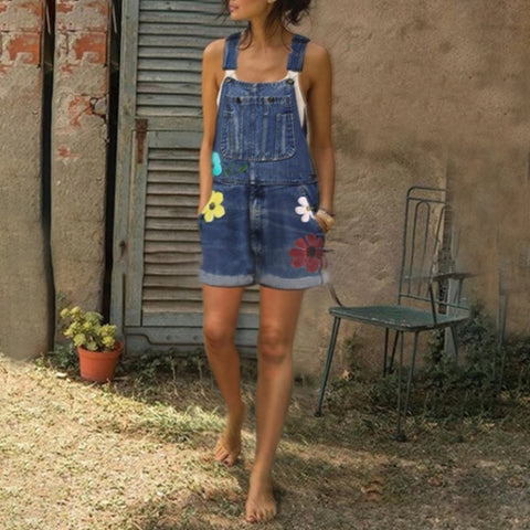 Sweet Printed Slim Denim Overalls