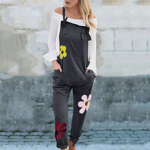 Fashion Flower Print Slim Straight Straight Bib