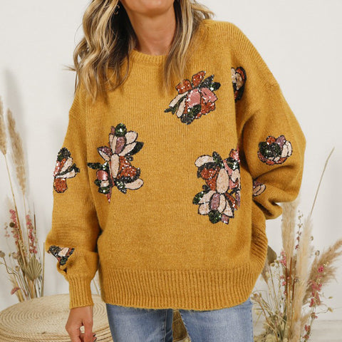 Casual Loose Round Neck Long Sleeves Sequin Sweater
