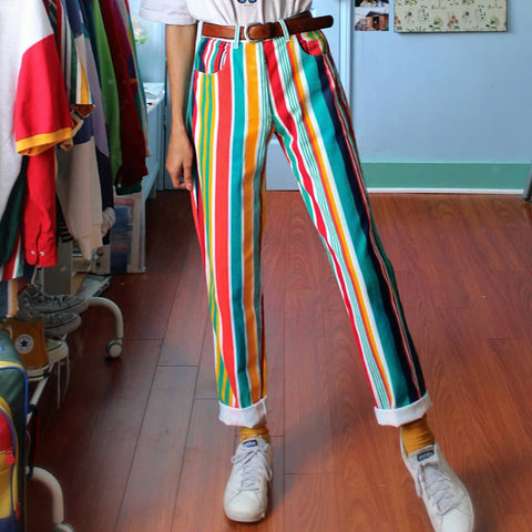 Women's Fashion Color Matching Striped Straight Trousers