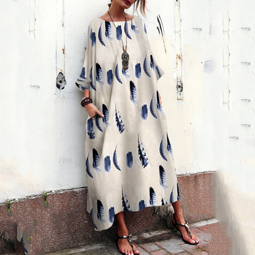 Majorgous Bohemian Striped Bell Sleeve Floral Print Loose Maxi Dress