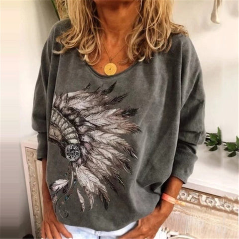 Casual Printed Round Neck T-shirt