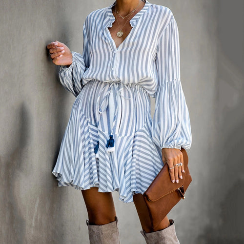 Maternity Lace-up Lantern Sleeve Vertical Striped Mini Dress
