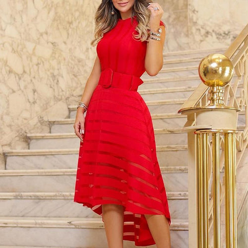 Elegant Striped Round Neck High Low Sleeveless Skater Party Dresses