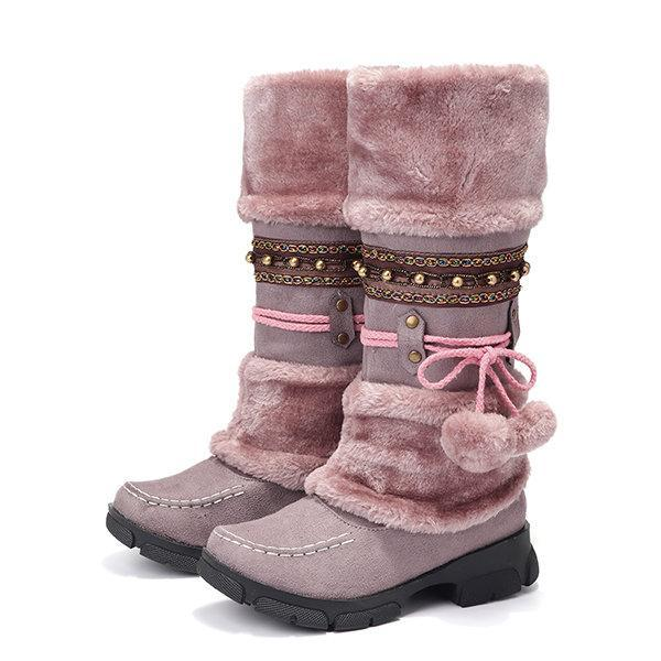 Large Size   Rhinestone Slip On Mid Calf Warm Knight Boots