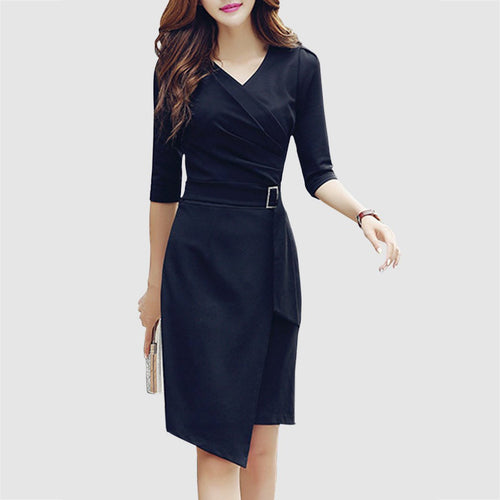 V-Neck  Asymmetric Hem  Plain Bodycon Work Dress