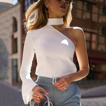 Autumn And Winter   Fashion Sexy Pure Color Single Shoulder Long Sleeve Shirt