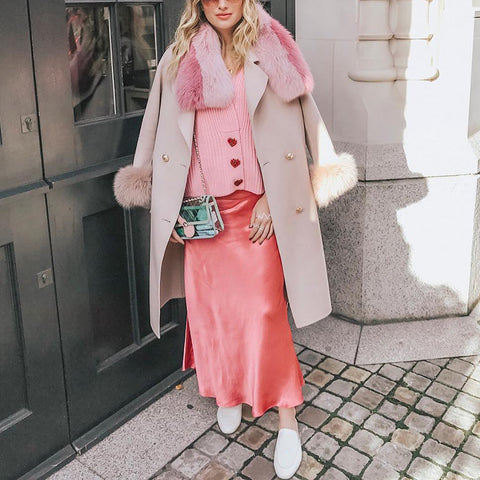 Fashion Warm Faux Fur Pink Fur Collar Double-breasted Wool Coat