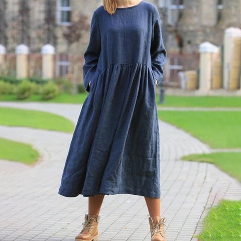 Casual Loose Pure Color Long Sleeve Dress
