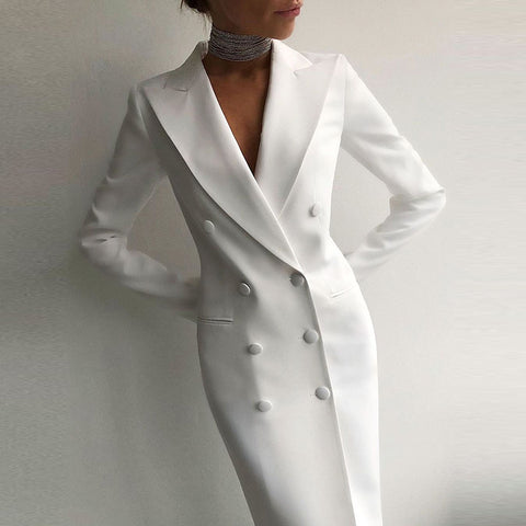 Fashion Fold Over Collar Long Sleeve Double-Breasted Blazer