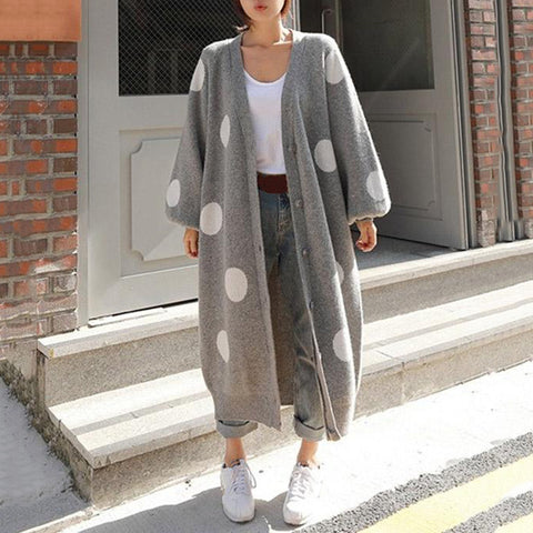 Women's Long Sleeve Big Dot Printed Knited Sweater Coat