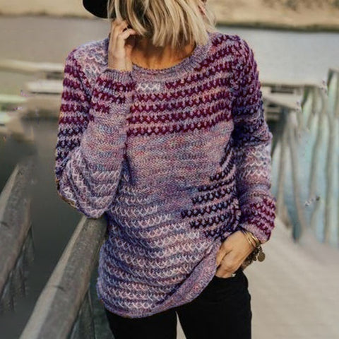 Autumn New Women Fashion Long Sleeve Knitted Sweater Casual