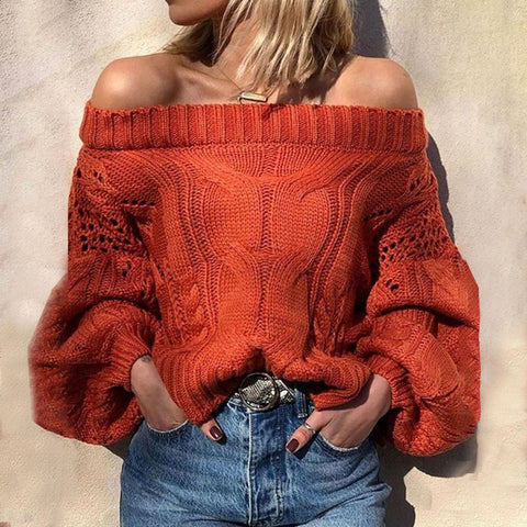 Orange Red off-the-shoulder Twist Women's Sweater