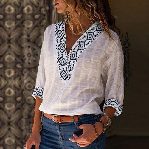 2019 V-Neck Ethnic Printed Shirt