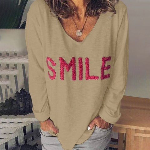 Fashion Print v-neck Long Sleeved T-shirt