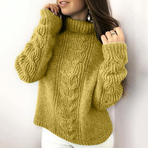 Womens Fashion Sweaters Soild Color Tops Long Sleeve Casual