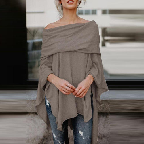 Off Shoulder  Asymmetric Hem  Plain T-Shirts Blouse