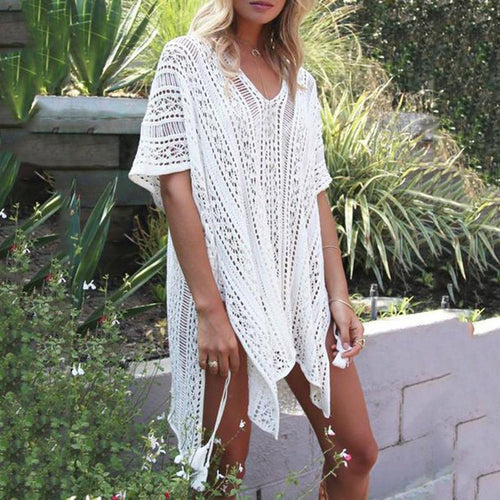 V-Neck  Decorative Lace  Plain  Kimono Sleeve  Short Sleeve Tunic
