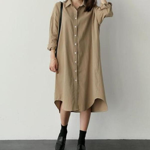 Fashion Long Sleeve Loose Show Thin Pure Color Long Shirt Dress