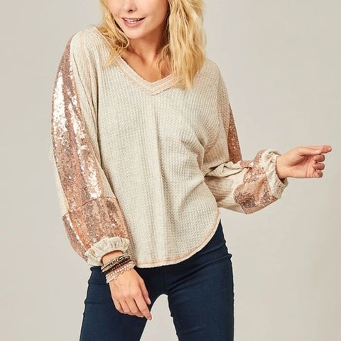 Fashion Sequin Splicing V Neck Loose Puff Sleeves T-shirt