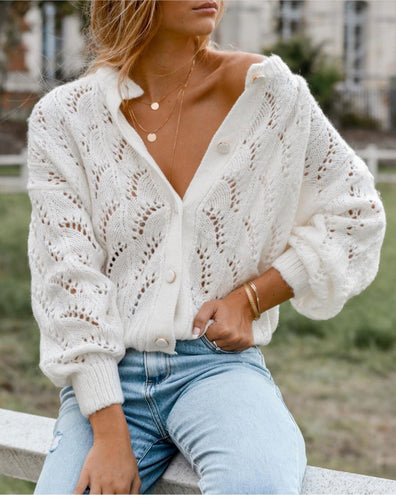 Solid long-sleeved openwork knit top