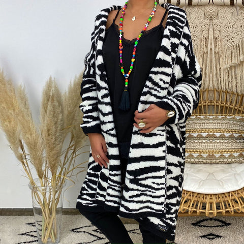 Women's Zebra Print Long Sleeve Coat
