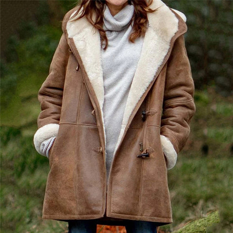 Women Fluffy Coat Warm Faux Leather Jacket for Winter Plus Size