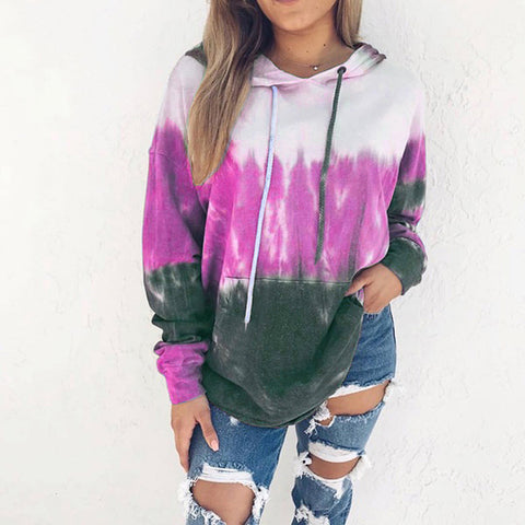 Fashion Rainbow Gradient Print Hooded Long Sleeve Plus Velvet Sweatershirt