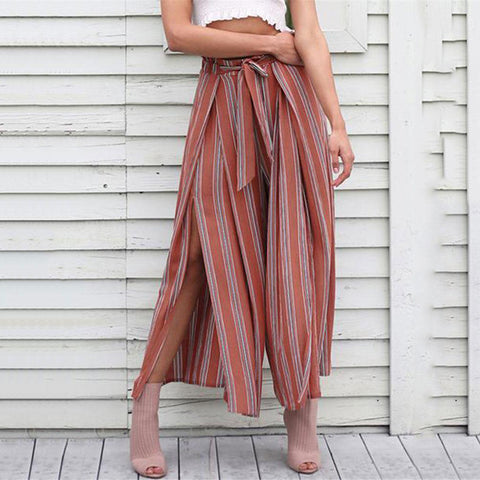 Sexy high-waisted frenulum stripe wide leg pants