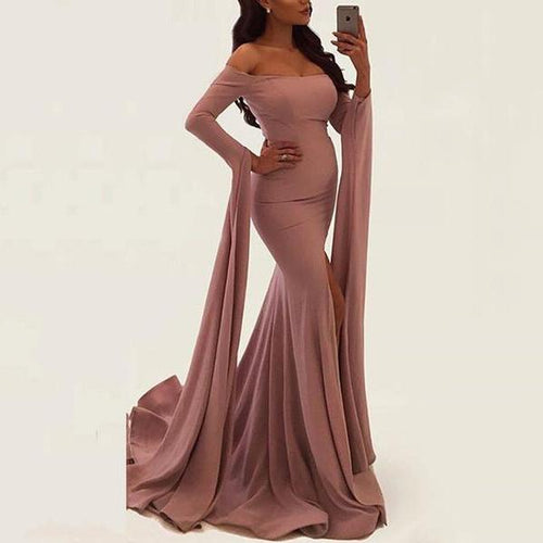 Casual Pure Colour Off-Shoulder Slit Maxi Dresses