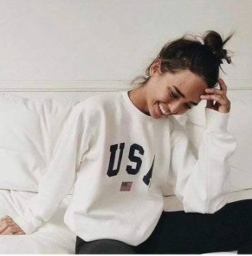Casual Letter Print Round Neck Long Sleeve Loose Sweatshirts