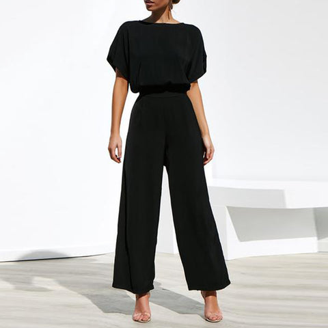 Women Commuting Wide-Leg High-Waist Trousers Short Sleeve Jumpsuit
