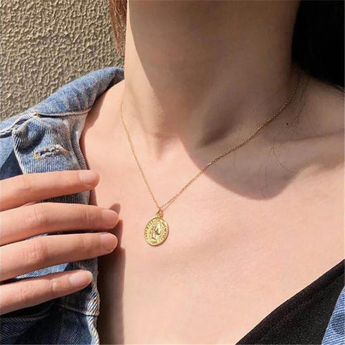 Women's Vintage Gold Coin Pendant Long Clavicle Chain