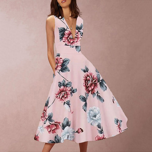 2019 Sleeveless V Collar Waist Printing Skater Dress
