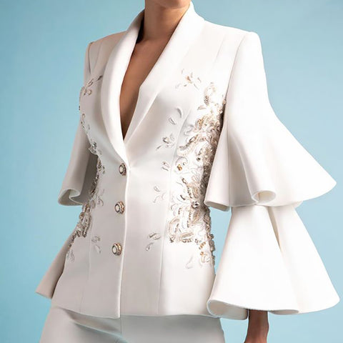 Women's Minimalist White Small Suit Jacket