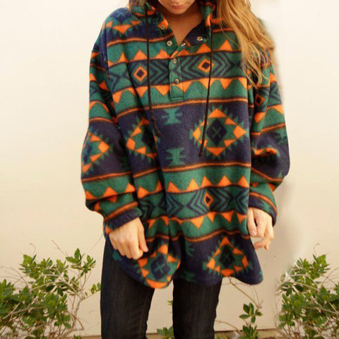 Women's Casual Printed Color Long-Sleeved Sweater