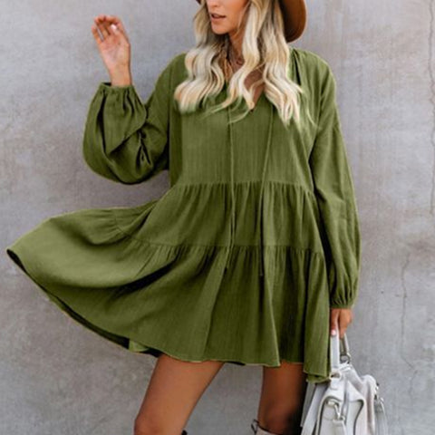Lace-up pleated loose v-neck Lantern Sleeve Solid Color Doll Dress