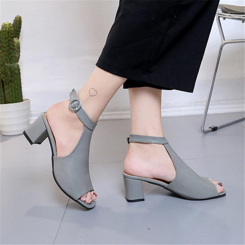 Fish mouth thick and back zip sandals