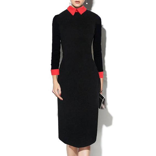Fold Over Collar  Color Block Bodycon Dress