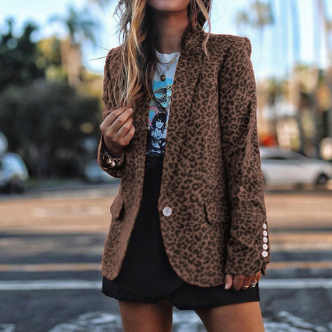 Women's Fashion Lapel Leopard Printed Button Coat