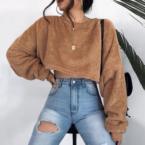 Women's Casual Round Neck Long Sleeve Short Sweater