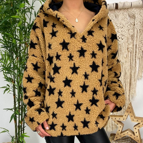 Casual Star Print Loose Hooded Plush Sweatshirt