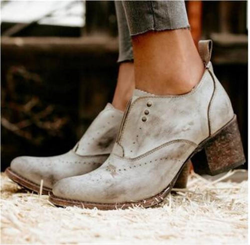 Fashion Retro Street Beat High Heels Boots